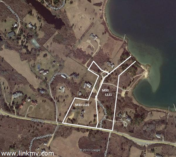 Two lots totaling six acres with seventy seven feet of private shoreline on Quitsa Pond.