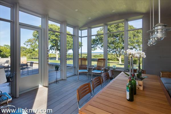 Screened porch overlooking Atlantic Ocean