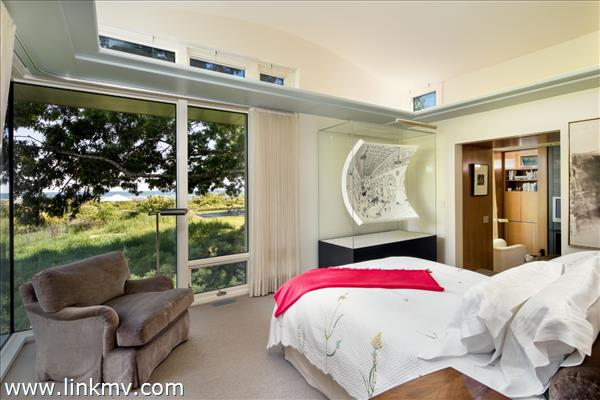 Master bedroom with waterviews and private deck