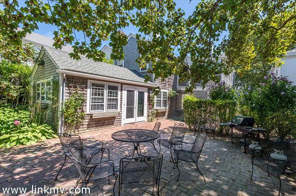 Kitchen Opens To Large Backyard Brick Patio