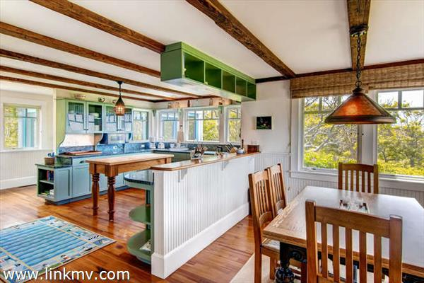 Kitchen flows into dining area