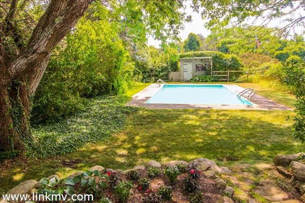 Existing pool and lawn area
