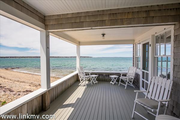 Side porch overlooking Vineyard Sound