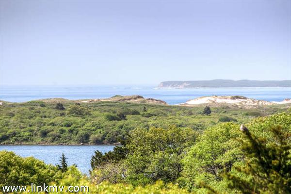 Looking South over the pond to Squibnocket Ridge and Atlantic Ocean