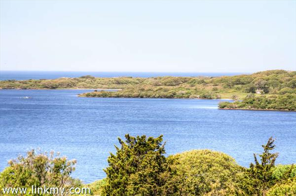 Close up of the Squibnocket Pond and Ocean beyond.