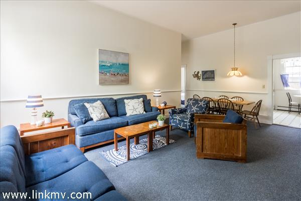 Expansive and open living and dining room...