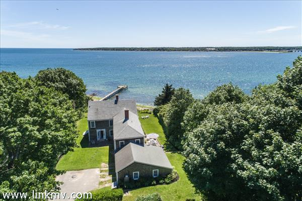 Aerial of house and outer harbor