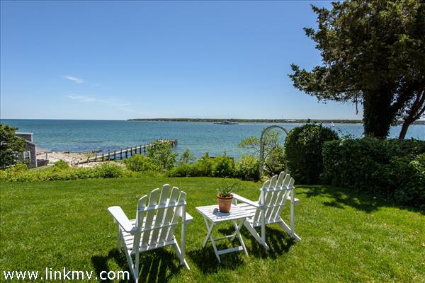 Relaxing on the front lawn with views of East Chop and Nantucket Sound.