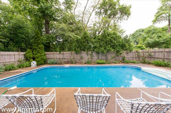 Pool Area Has Large Surround & Fence
