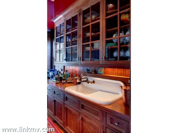 Mahogany Butler's Pantry with salvaged sink