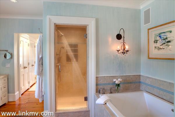 Master bath soaker tub, steam shower
