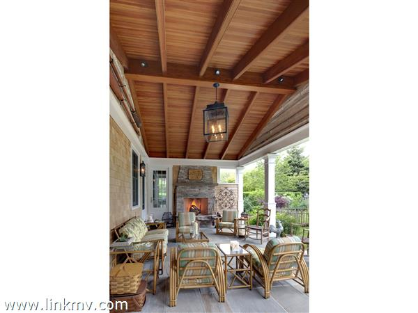 Outside porch and fireplace