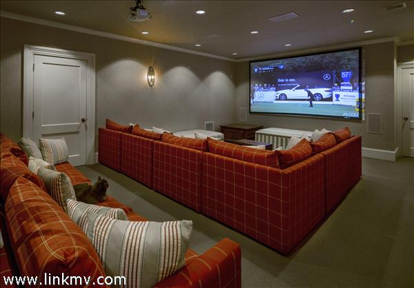 Lower Level Theater, Game Room, Bar, Dishwasher Drawer, and 1/2 Bath off of Game Room